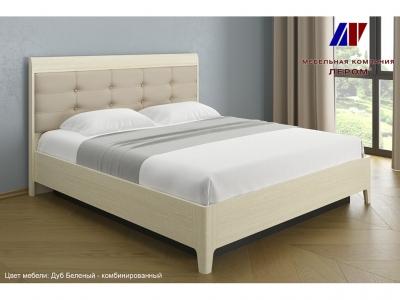 Кровать с мягким изголовьем КР-1074 1800х2000 Дуб Беленый - комбинированный