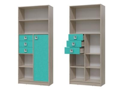 Шкаф стеллаж с дверкой и ящиками Сити Аква 6-9414