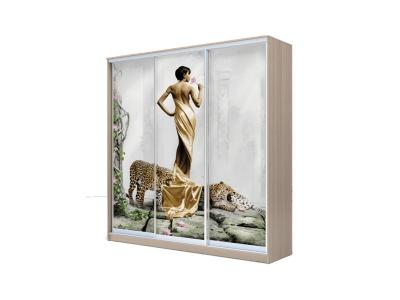 Шкаф-купе Хит 3-х дверный Девушка с леопардом Ясень шимо светлый
