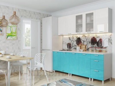 Кухня Модерн Бирюза Металлик - Белый