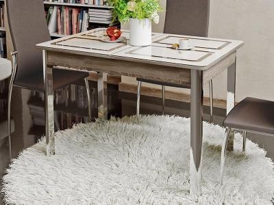 Стол обеденный на металлических ножках Палермо Дуб Сонома трюфель, стекло с рисунком