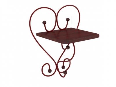 Полка настенная Милсон коричневая-металл красный