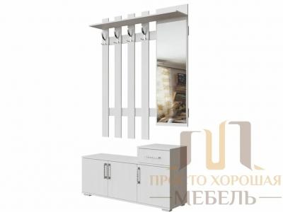 Вешалка с зеркалом СВ No 3 1,2 м Ясень Анкор светлый