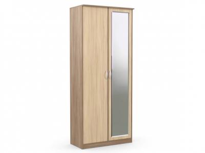 Шкаф 2-х створчатый Дуэт Люкс 960х450х2300 с зеркалом ясень шимо
