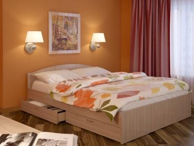 Кровать Веста 1600 с ящиками дуб млечный