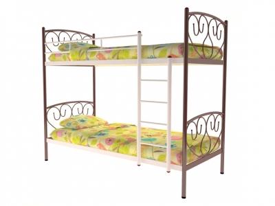 Кровать металлическая двухъярусная Злата коричневая