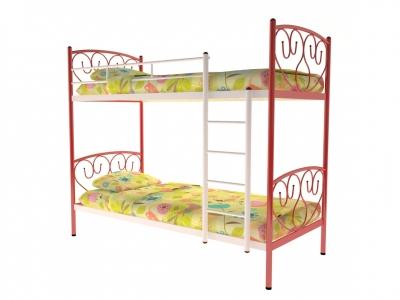 Кровать металлическая двухъярусная Злата красная